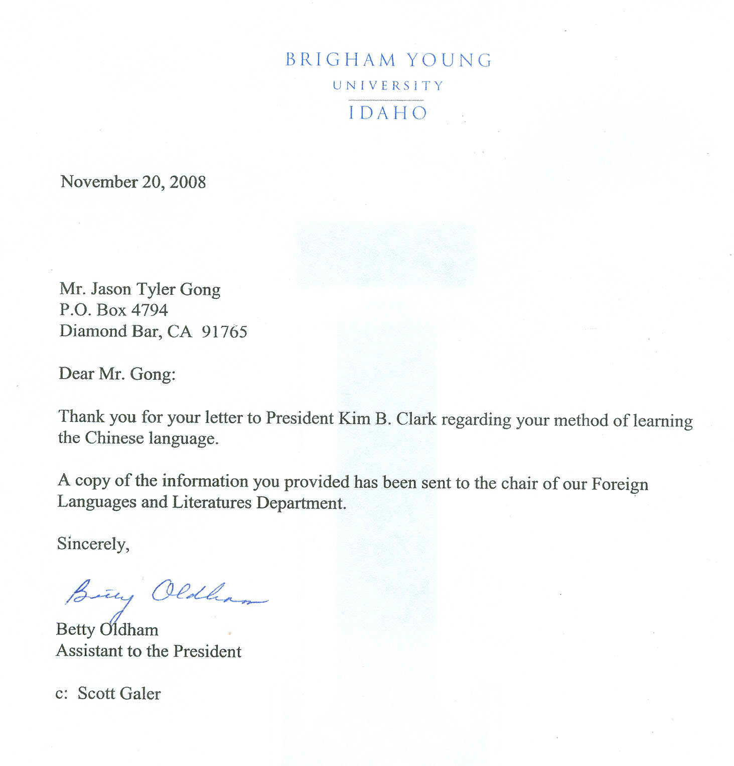 Bringham Young Idaho University Review Letter