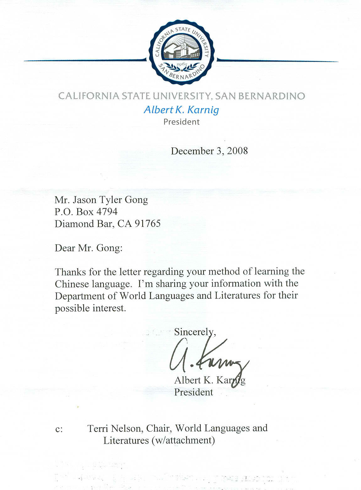 California State San Bernard University Review Letter