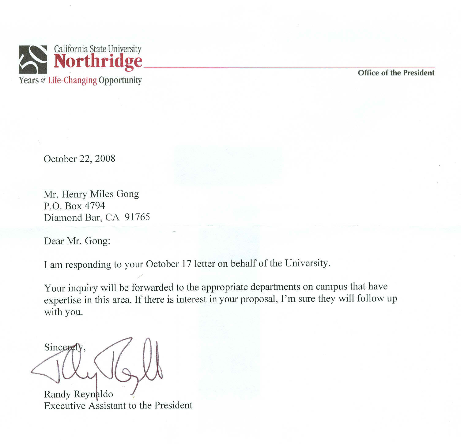 Northridge California State University_letter