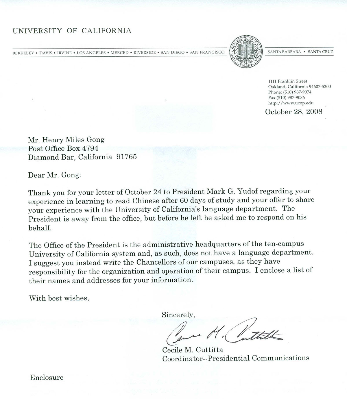 University of California Review Letter