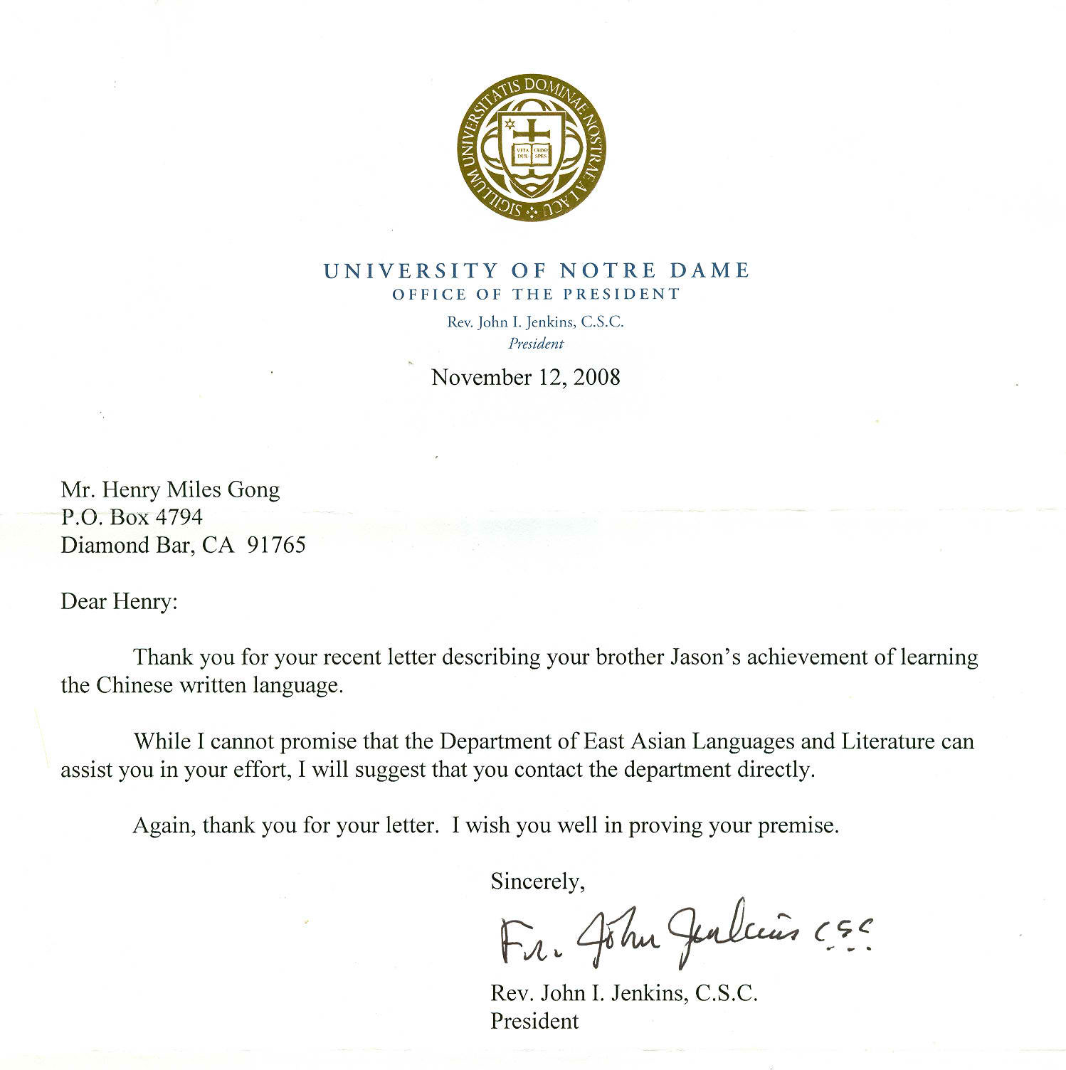 Notre Dame University Review Letter
