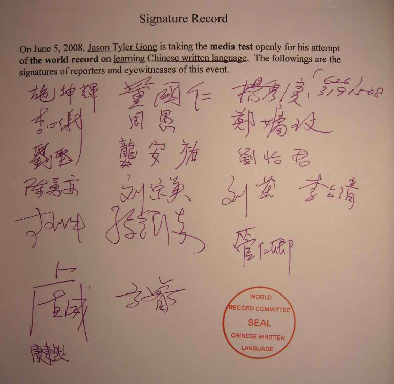 Signature Record of Reporters and Witnesses